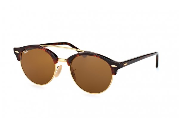 Очки Ray-Ban Clubround Double Bridge RB4346-990-33 Arista/Red tortoise | Natural Brown (B-15XLT)