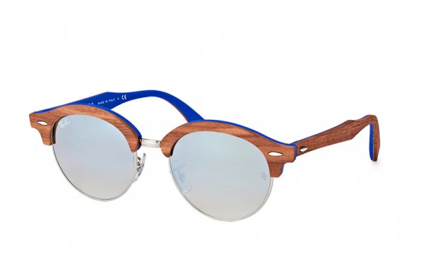 Очки Ray-Ban Clubround Wood RB4246M-1217-9U Dark Wood / Silver / Blue | Mirror Blue Yellow