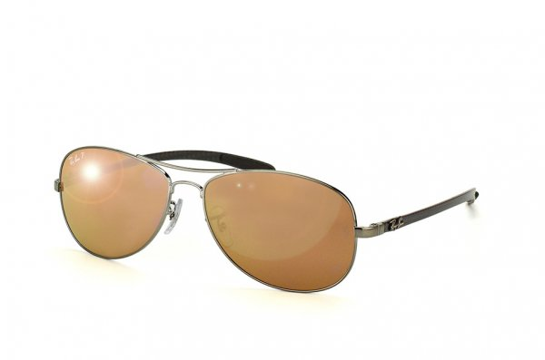 Очки Ray-Ban Cockpit Carbon Fibre RB8301-004-N3 Gunmetal | Brown Mirror Gold Polarized P3 Plus