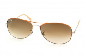 Очки Ray-Ban Cockpit RB3362-071-51 Silver Bridge and Temple, Orange Frame Top, Beige Frame Bottom | Faded Brown