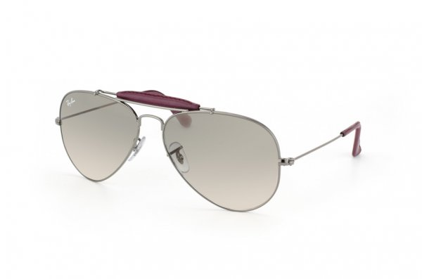 Очки Ray-Ban Craft Outdoorsman RB3422Q-110-32 Gunmetal / Insert Wine Leather | Gradient Grey