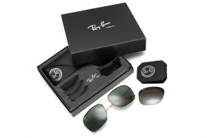 Очки Ray-Ban Flip Out RB3482-001-71 Arista | Grey/Green+Poly. Polar Gradient Brown