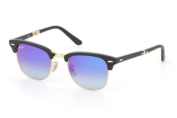 Очки Ray-Ban Folding Clubmaster RB2176-901S-7Q Matte Black | Mirror Faded Blue