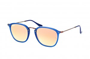Очки Ray-Ban Highstreet Flat Lenses RB2448N-6254-7O Blue/Gunmetal | Faded Brown Mirror