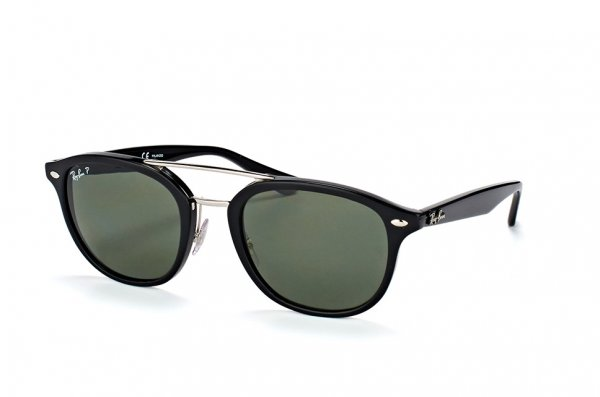 Очки Ray-Ban Highstreet RB2183-901-9A Black / Silver |  Green Polarized