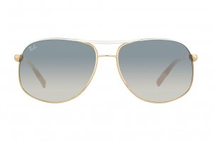 Очки Ray-Ban Highstreet RB3387-077-7B White Frame Top/Gold Frame Bottom | Blue GSM