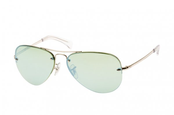 Очки Ray-Ban Highstreet RB3449-9043-30 Silver | Crystal Green Mirror