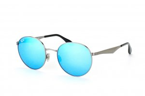 Очки Ray-Ban Highstreet RB3537-004-55 Gunmetal | Multilayer Blue Mirror Solid Color - Mirror