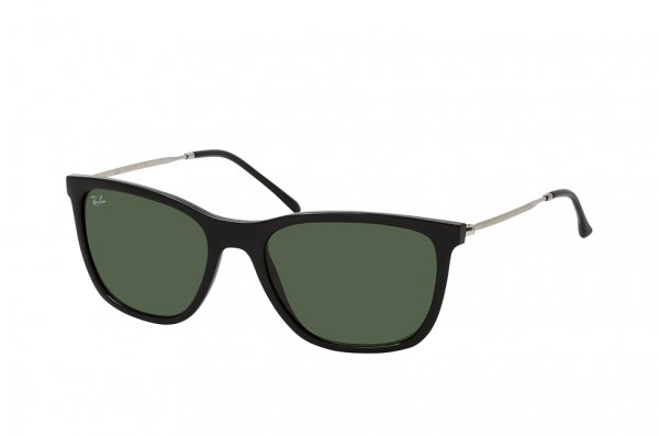 Очки Ray-Ban Highstreet RB4344-601-31 Black / Silver | Natural Green