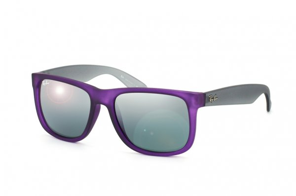 Очки Ray-Ban Justin RB4165-6024-88 Transparent Rubber Violet/Grey | Grey Silver Mirror