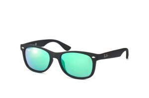 Очки Ray-Ban Kids and Junior New Wayfarer RB9052S-100S-3R Matt Black | Green Mirrored