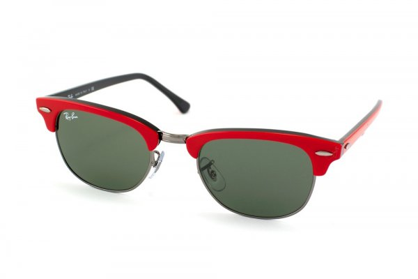 Очки Ray-Ban New Clubmaster RB2156-955 Red on Black, Gunmetal | Natural Green (G-15XLT)