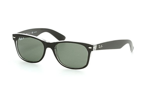 Очки Ray-Ban New Wayfarer Color Mix RB2132-6052-58 Black On Crystal | Natural Green Polarized