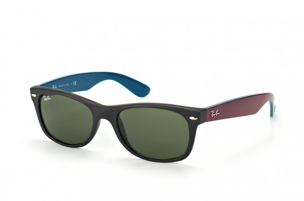 Очки Ray-Ban New Wayfarer Color Mix RB2132-6182 Black/Violet/Blue | Natural Green(G-15XLT)