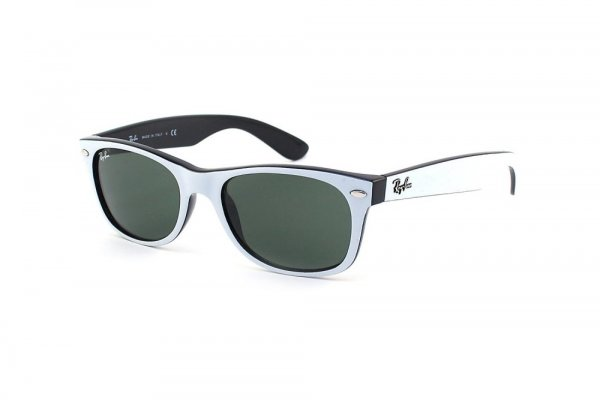 Очки Ray-Ban New Wayfarer Color Mix RB2132-770 White On Black | Natural Green (G-15XLT)