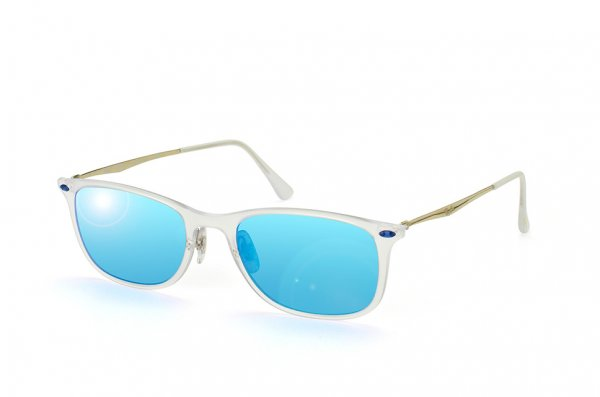 Очки Ray-Ban New Wayfarer LightRay RB4225-646-55 Matte Transparent | Blue Mirror