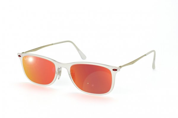 Очки Ray-Ban New Wayfarer LightRay RB4225-646-6Q Matte Transparent | Orange Mirror