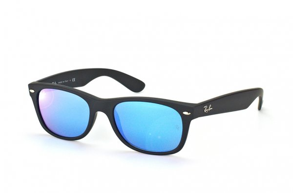 Очки Ray-Ban New Wayfarer RB2132-622-17 Black Rubber/ Blue Mirror