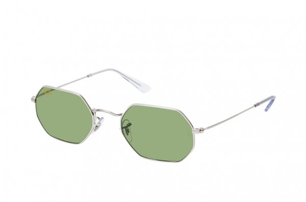 Очки Ray-Ban Octagonal RB3556-9198-4E Silver | Light Green