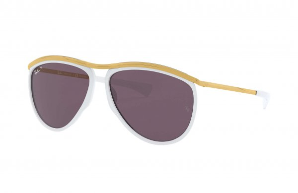Очки Ray-Ban Olympian Aviator RB2219-1289-AF Arista / White | Violet Polarized