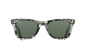 Очки Ray-Ban Original Wayfarer Blocks RB2140-1084 Blocks Three-Dimensional/Grey Transparent | Natural Green