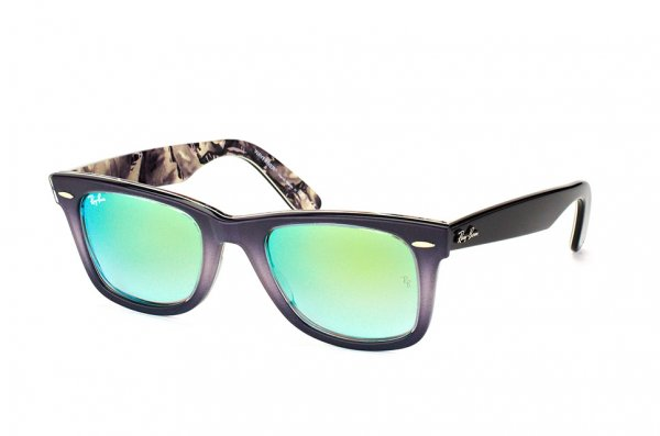 Очки Ray-Ban Original Wayfarer Color Mix RB2140-1199-4J Dark Violet / Black | Gradient Green Mirror