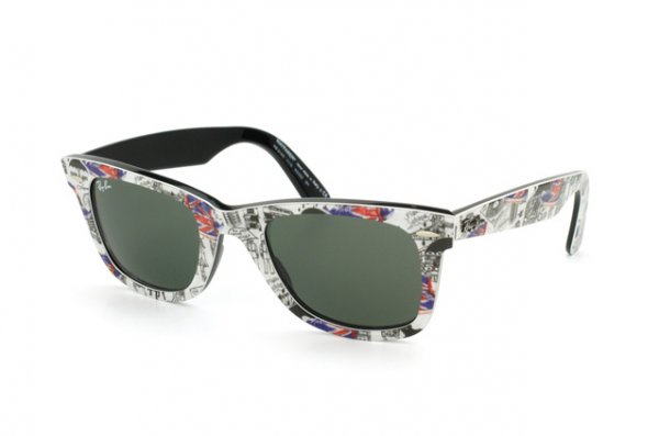 Очки Ray-Ban Original Wayfarer London RB2140-1115 London Prints / Black | Natural Green (G-15 XLT)