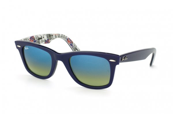 Очки Ray-Ban Original Wayfarer London RB2140-1117-16 Dark Blue/Texture London | Green/Azure Mirror