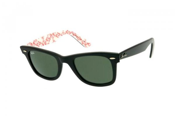 Очки Ray-Ban Original Wayfarer RB2140-1017 Black On Texture White | Natural Green (G-15XLT)