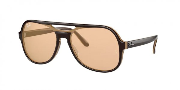 Очки Ray-Ban Powderhorn RB4357-6547-B4 Dark Brown / Beige | Orange Mirror Photochromatic