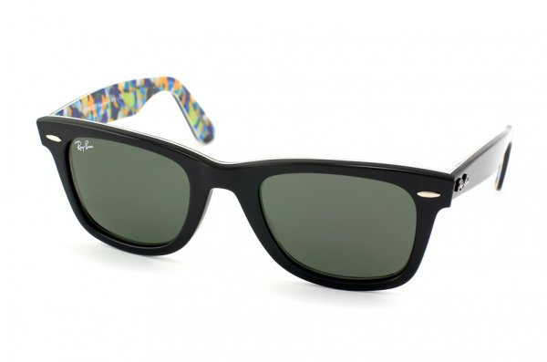 Очки Ray-Ban Rare Prints Wayfarer RB2140-1018 Black/Orange-Blue-Green-Violet Prints/Natural Green (G-15XLT)