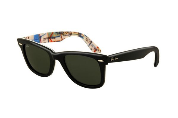 Очки Ray-Ban Rare Prints Wayfarer RB2140-1028 Black On Map Prints| Natural Green (G-15XLT)