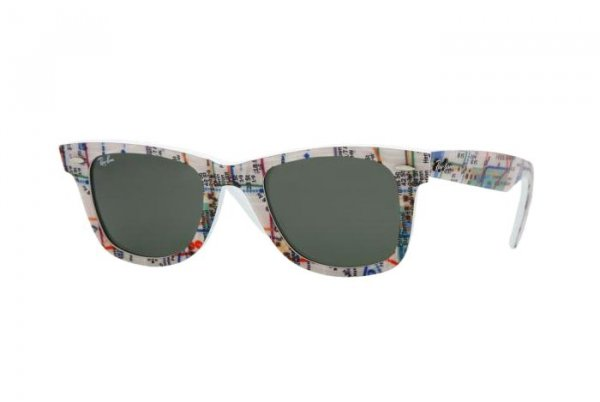 Очки Ray-Ban Rare Prints Wayfarer RB2140-1033 Map Prints on White | Natural Green (G-15 XLT)