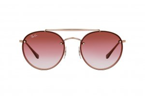 Очки Ray-Ban Round Double Bridge Flat Lenses RB3614N-9141-0T Dark Arista | Gradient Pink Mirror