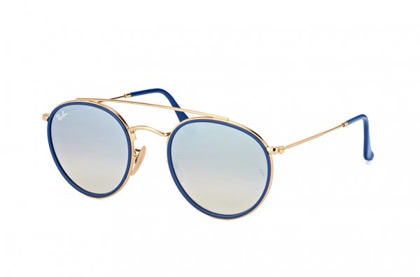 Очки Ray-Ban Round Double Bridge RB3647N-001-9U Arista / Blue | Mirror Blue Yellow