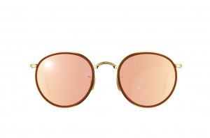 Очки Ray-Ban Round Folding I RB3517-001-Z2 Arista /Brown | Brown Mirror Pink