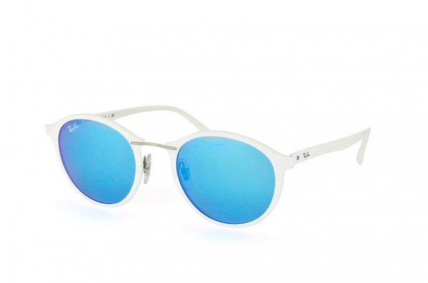 Очки Ray-Ban Round II LightRay RB4242-671-55 White | Multilayer Blue Mirror