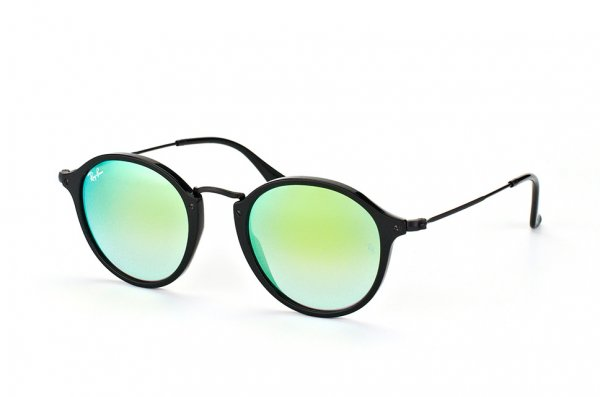 Очки Ray-Ban Round Icons Flash Lenses RB2447-901-4J Black | Green Gradient Mirror
