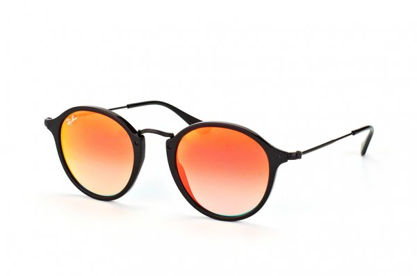 Очки Ray-Ban Round Icons Flash Lenses RB2447-901-4W Black | Orange Gradient Mirror