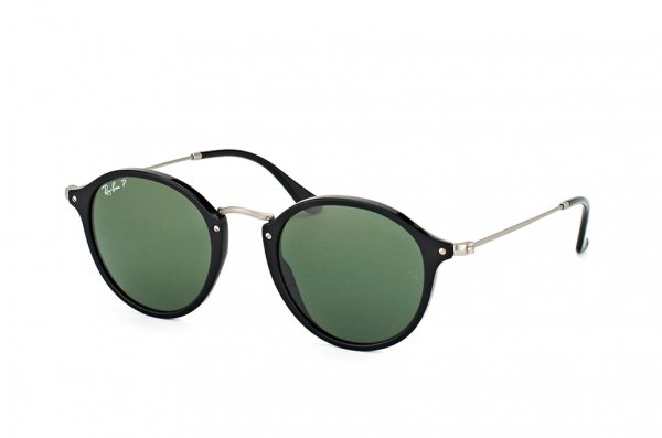 Очки Ray-Ban Round Icons RB2447-901-58 Black/Matt Silver| Natural Green Polarized