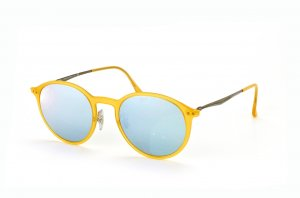 Очки Ray-Ban Round LightRay RB4224-6186-30 Matte Yellow| Blue Mirror