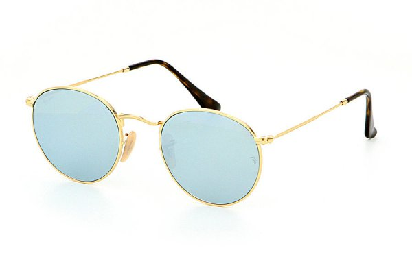 Очки Ray-Ban Round Metal Flat Lenses RB3447N-001-30 Arista Light Blue  | Crystal Silver Mirror