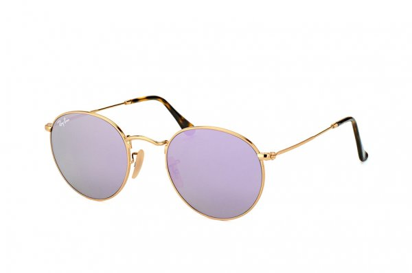 Очки Ray-Ban Round Metal Flat Lenses RB3447N-001-8O Arista | Violet Mirror