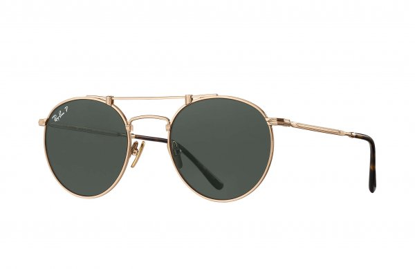 Очки Ray-Ban Round Titanium RB8147-9136-58 Antique Gold | Natural Green Polarized