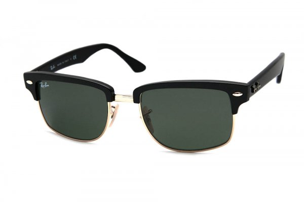 Очки Ray-Ban Squared Clubmaster RB4190-601 Black/Arista | Natural Green (G-15XLT)