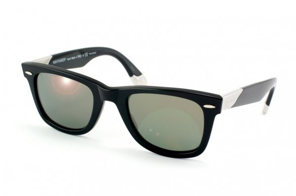 Очки Ray-Ban Ultra Wayfarer RB2157K-901-M6 Shiny Black, 18K White Gold | Polarized P3 Plus