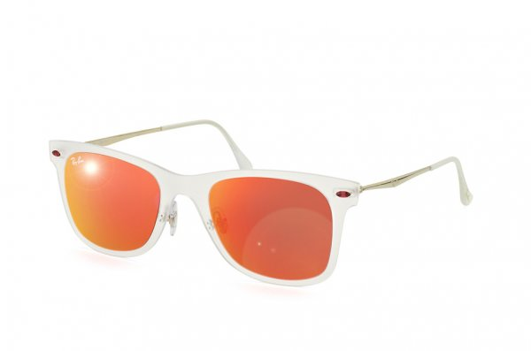Очки Ray-Ban Wayfarer LightRay RB4210-646-6Q Matte Transparent | Orange Mirror